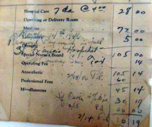 1946 Hospital Bill