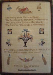 """""""Our House"""" embroidered by daughter, Dorothy Dawes Young in 1925."""