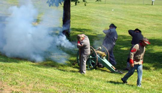 Cannon fire ignites celebration.