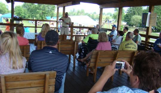 Dave Adair speaks in the pavilion, which was the site of the original train station in Campbell's Station.