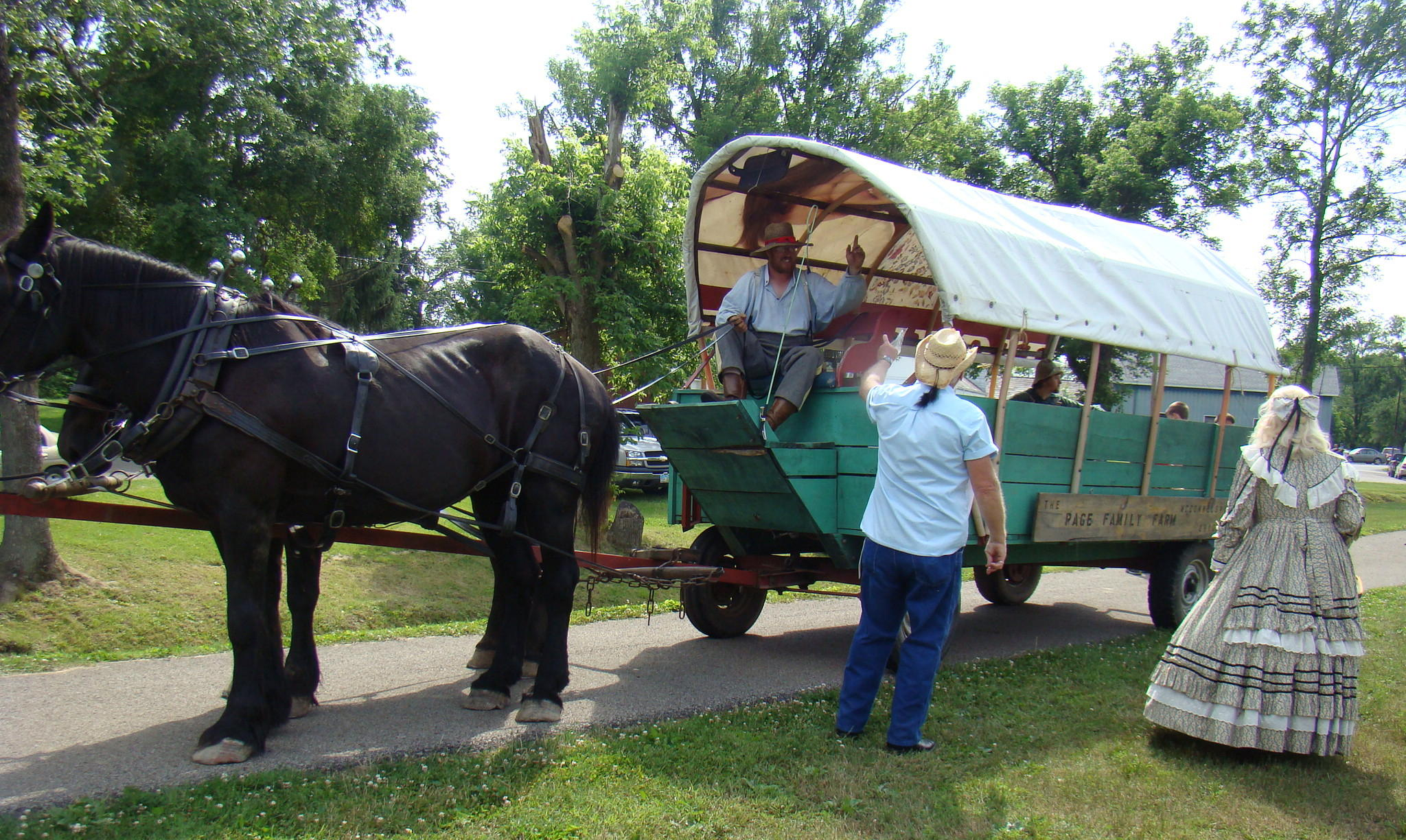 Riders enjoying the horse and wagon ride were greeted by Mayor Carpenter and wife, Sharon.