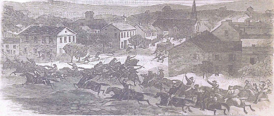 Morgan's Freebooters enter Washington, Ohio ~Harper's Weekly, Aug, 1863