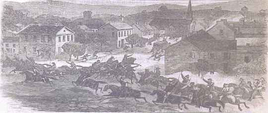 Morgan's Freebooters enter Washington, Ohio ~Harper's Weekly, Aug, 1863