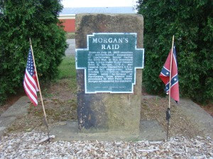 Monument to honor Morgan's Raid erected by Carroll County Historical Society in 1868.