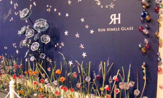 Ron Hinkle's display of blownglass creations