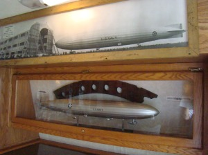 Display showing the skeleton of the famous Shenandoah airship