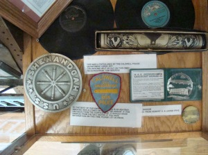 One of many glass cases filled with memorabilia