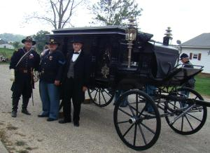 Hearse with Sons of Union Civil War Veterans and Governor Dollison