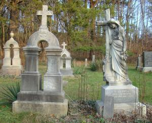 Martin's marker and Clara's memorial, a likeness of her imported from France