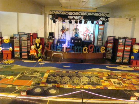 World's Largest Lego Mural on gym floor.