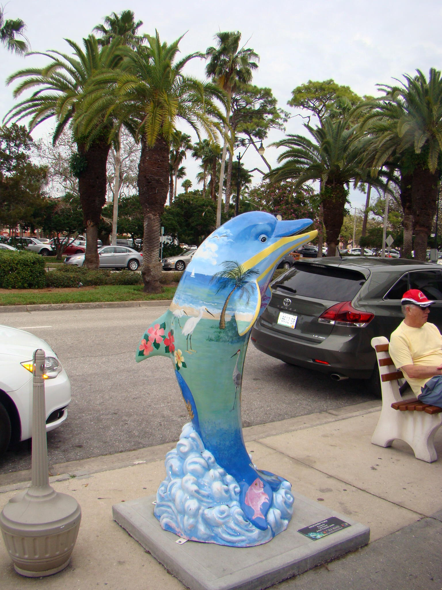 Attractive Dolphin Statues Line The Streets As Part Of Sea Venice Arts Project.