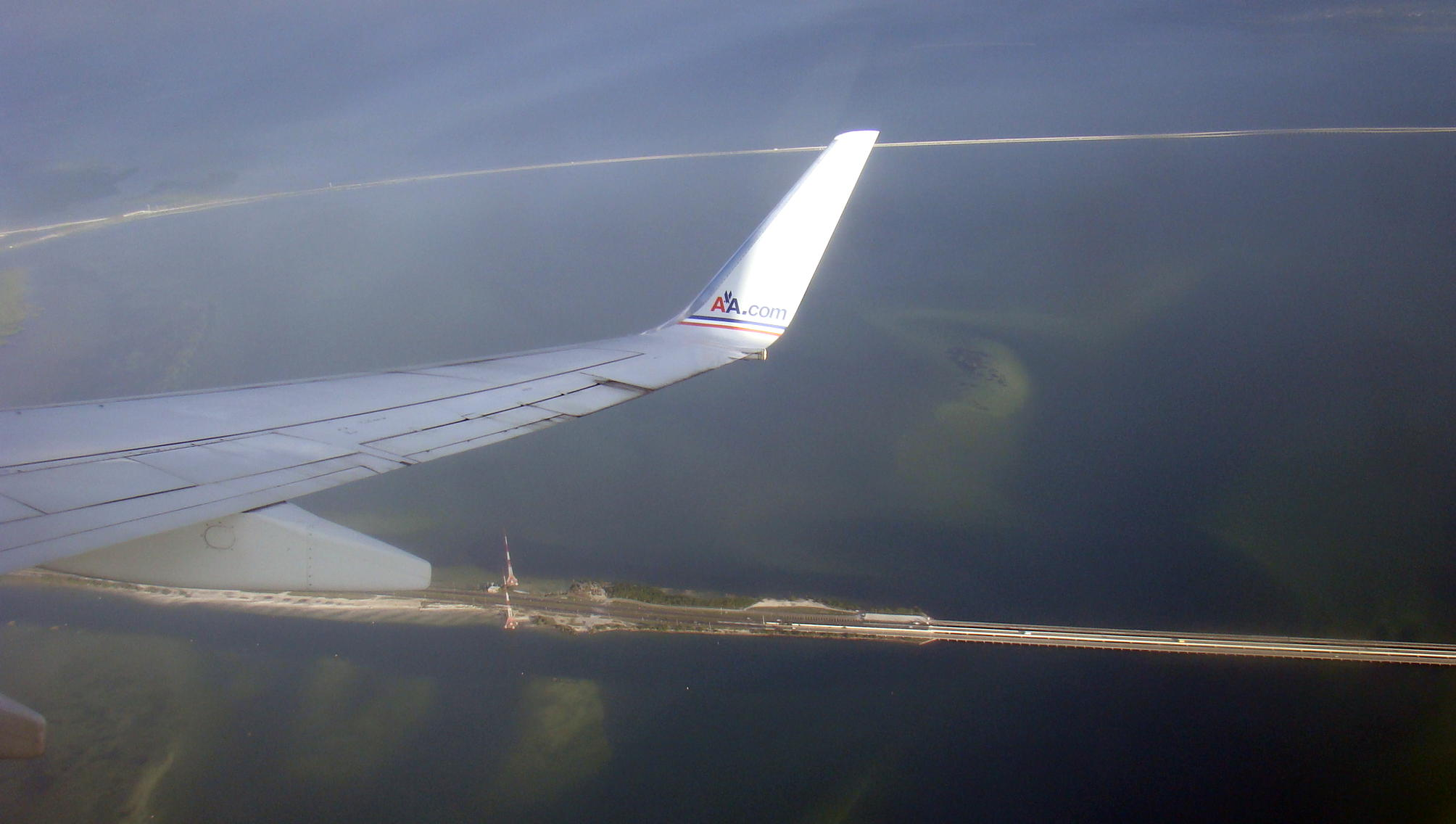 View of the causeways leaving Tampa