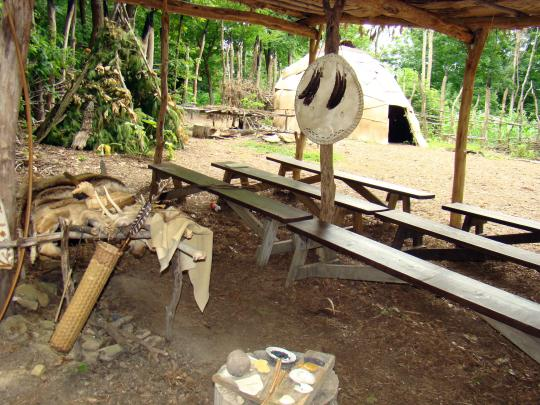 Hunting camp with tools for hunting and fishing