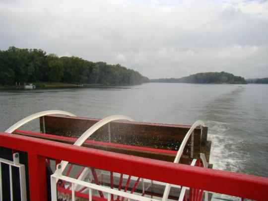View behind the paddle wheel
