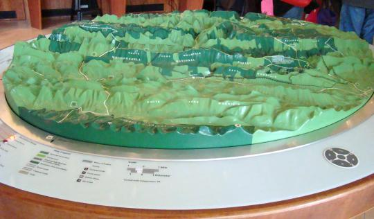 Lighted topography map