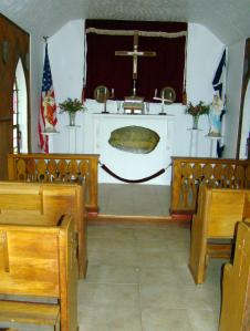 The altar inside the smallest church