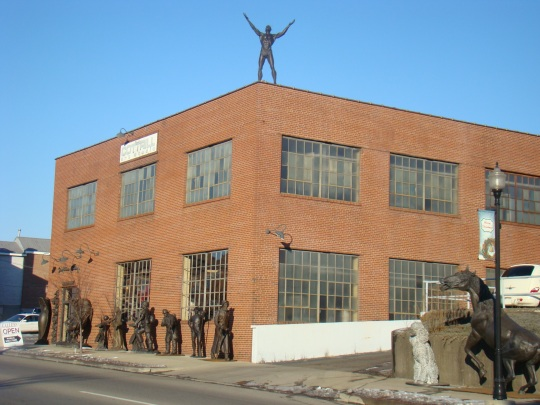 Alan Cottrill's Sculpture Studio is watched over by Chief Nemocilin, an American Indian who helped blaze the National Road.