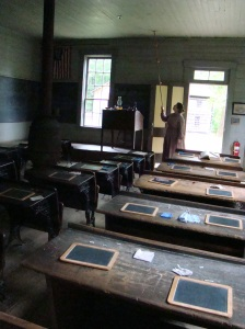 Desks with slates in old schoolhouse