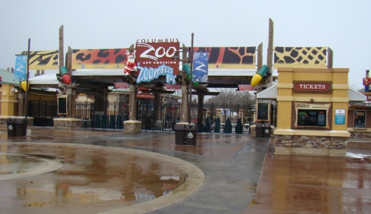 Zoo Entrance with just snow flurries upon arrival.