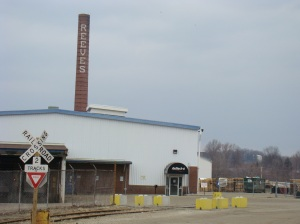 Reeves smokestack still stands today in acreage behind the house.