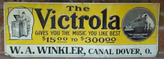 This old Victrola sign advertised the business of Wnkler in Canal Dover.
