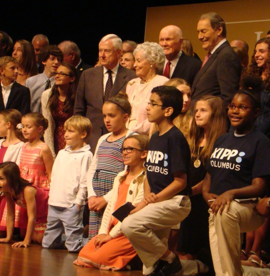 John and Annie Glenn and Charlie Rose welcomed students on stage.