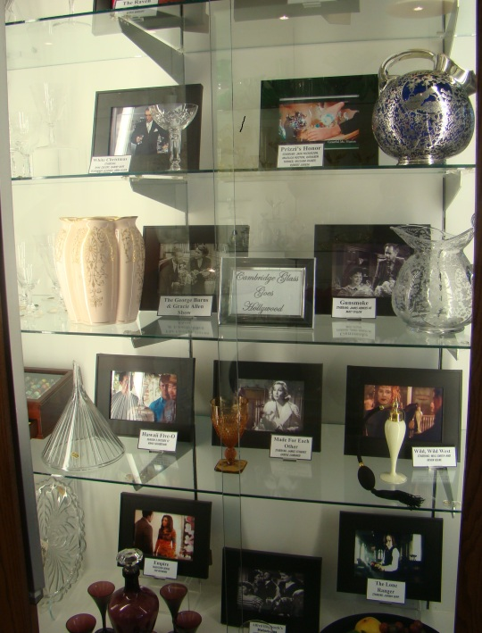 This display shows some of the Cambridge Glass used in movies or television shows.