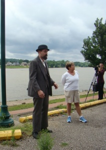 Riverfront man and Lynne, our guide