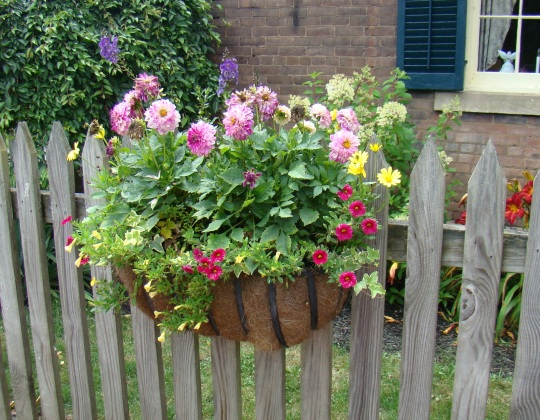 Charming flower boxes on local fences added to the beauty of the village.