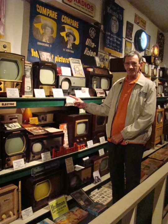 Owner, Larry, points out the first TV his family had back in 1951.