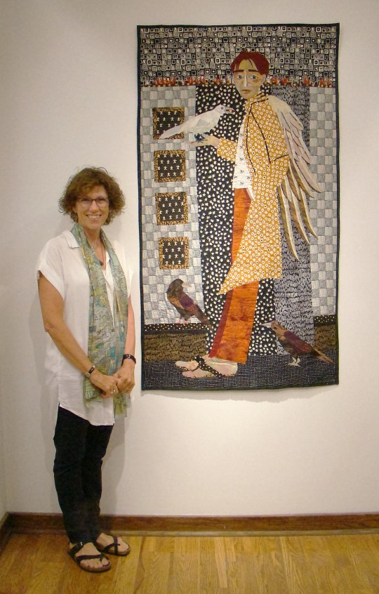 Kate's early quilt showed her son as Icarus as she hoped he wouldn't fly too close to the sun.