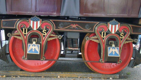 Even the wheels of the train were patriotic.