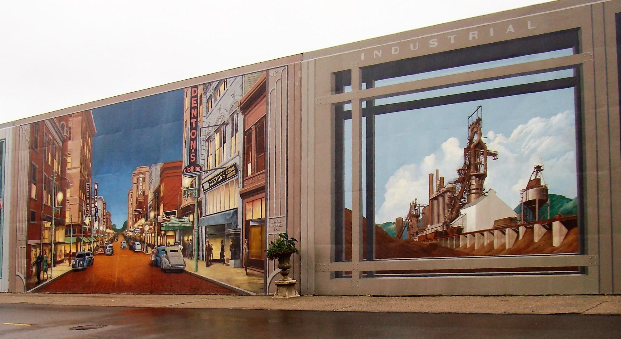 Floodwall Town Mural