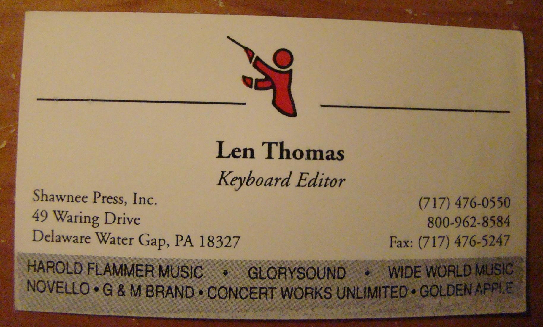 Len Shawnee Press Business card
