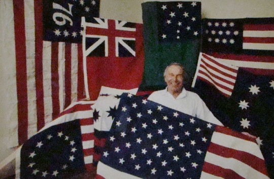 Vane's Dad with flags