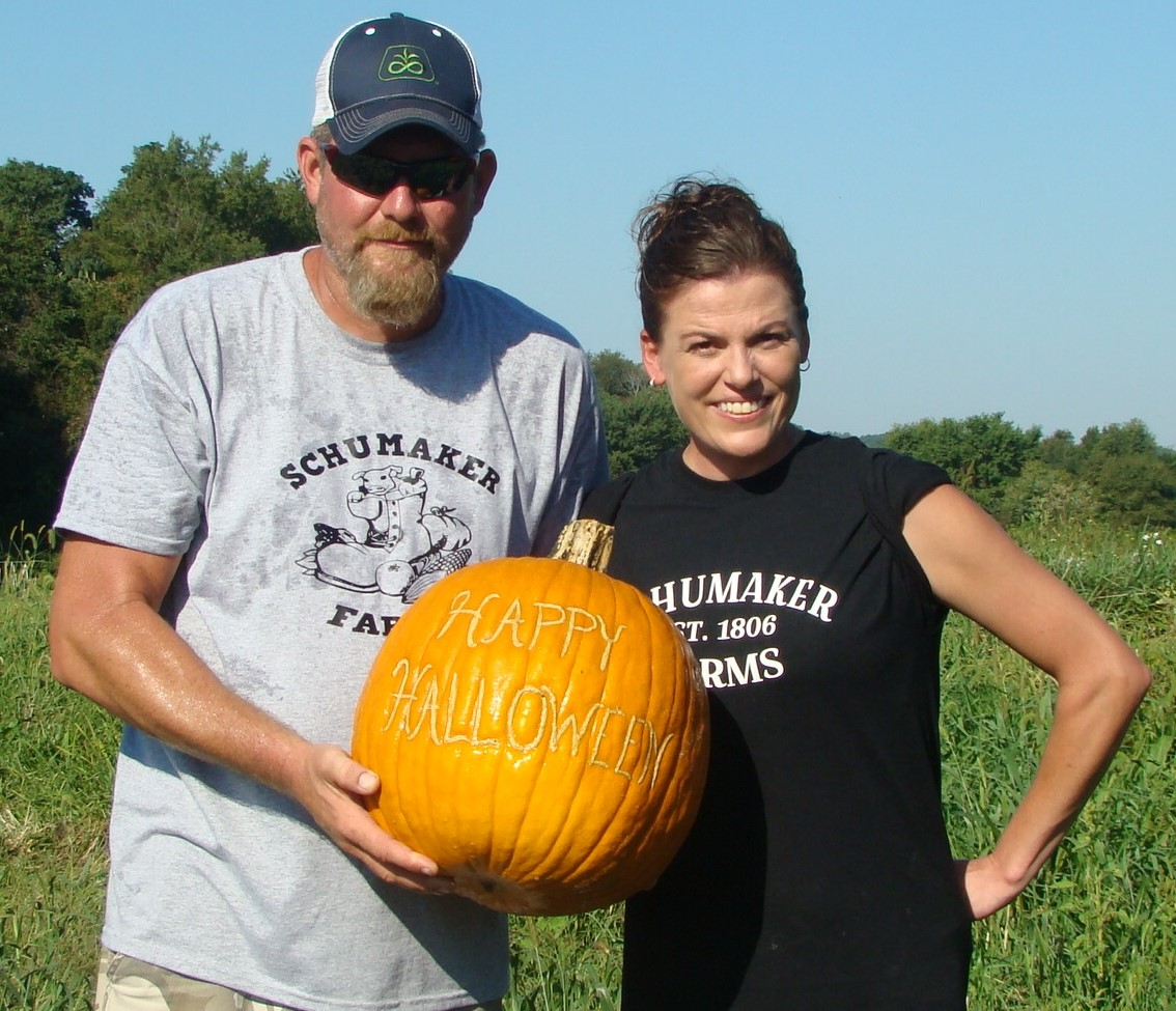 thumbnail_Schumaker Chad and Leigha with scarred pumpkin
