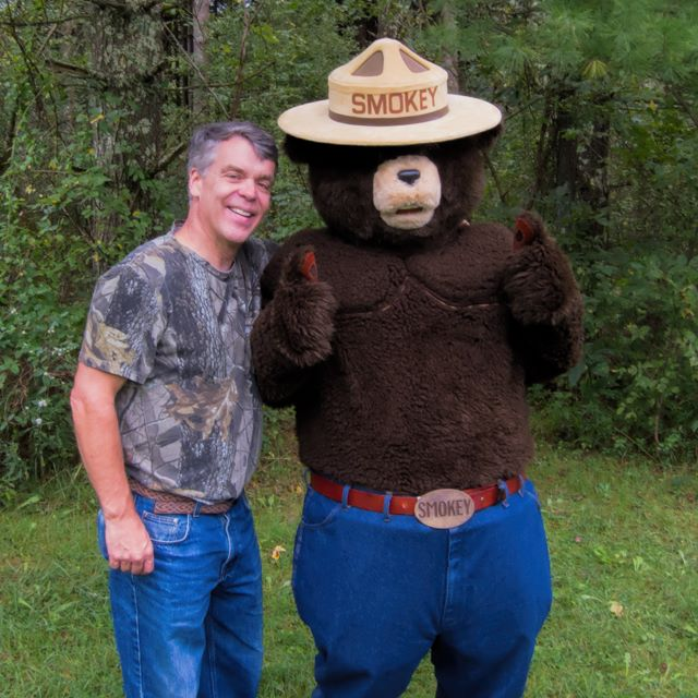 Daniel with Smokey the Bear at Wayne National Forest