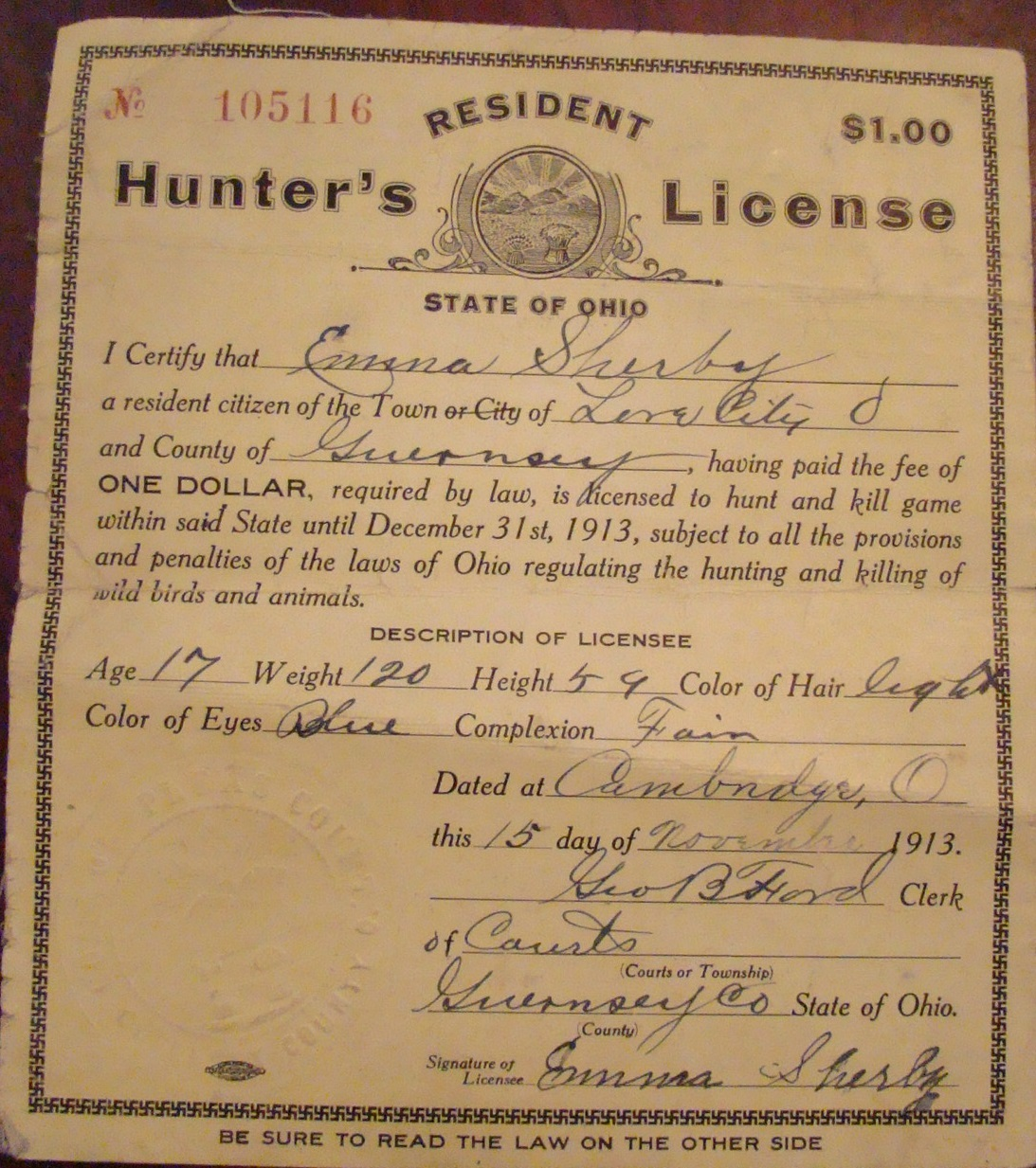 Emma's Hunting License