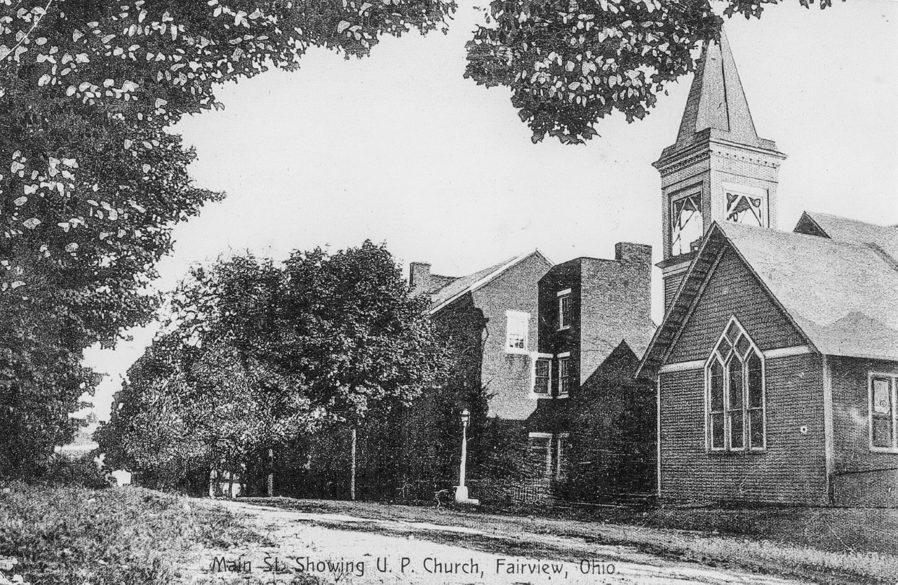 Fairview looking west on National Road - UP Church in foreground