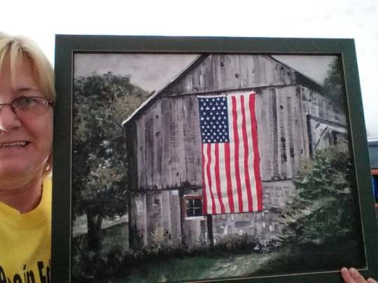 cathy barn with flag