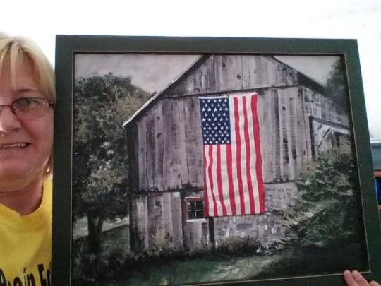 cathy barn with flag