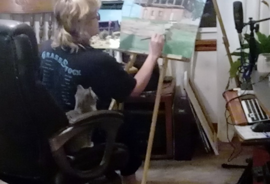 cathy painting with cat molly