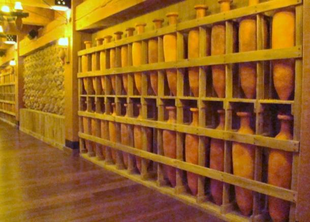 Ark water jugs and bags of grain