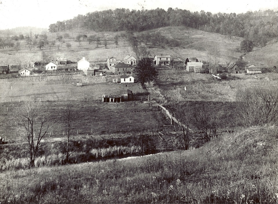 1934 photo of Buckeyeville. Old wood bridge miners would use to go home from work.