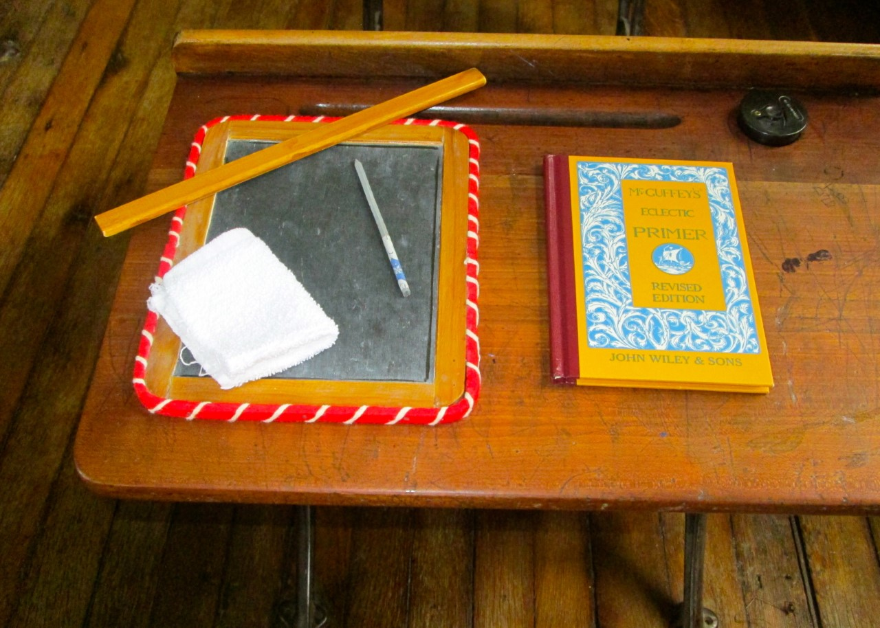 One-Room School slate and reader